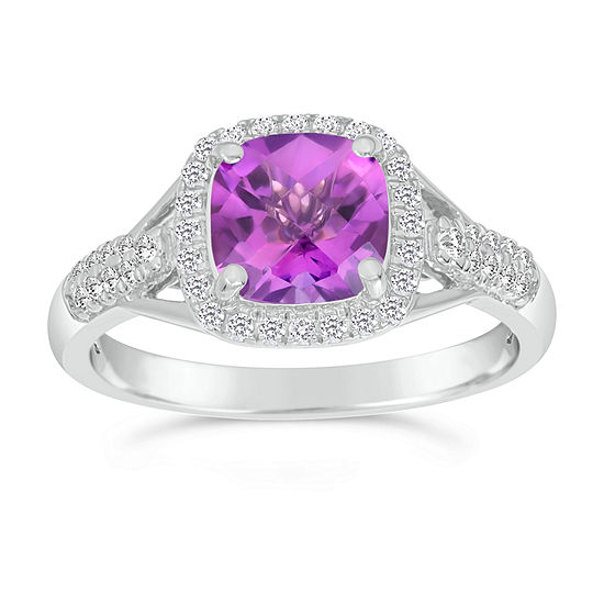 Womens 1 4 Ct Tw Genuine Purple Amethyst 10k Gold Halo Cocktail Ring