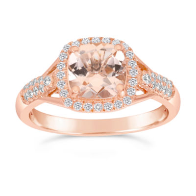 Womens 1/4 CT. T.W. Genuine Champagne Morganite 10K Gold Halo Ring