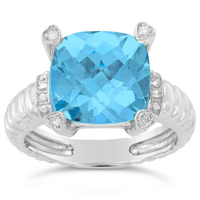 Womens Diamond Accent Blue Blue Topaz Sterling Silver Cocktail Ring