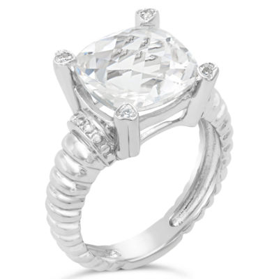 Womens Diamond Accent Genuine White Topaz Sterling Silver Cocktail Ring