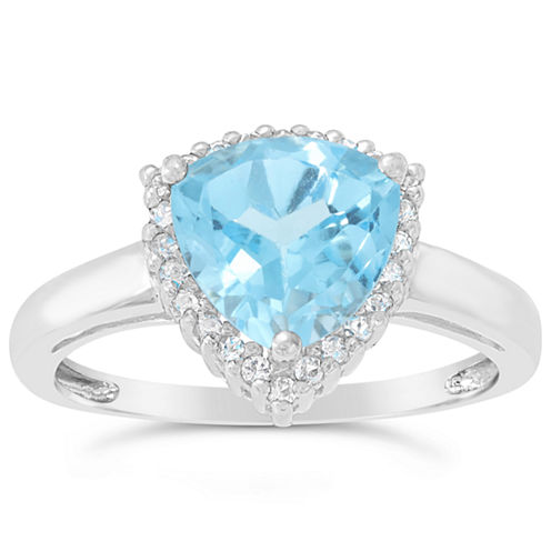 Womens Genuine Blue Topaz Sterling Silver Halo Ring