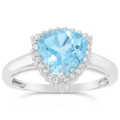Womens Genuine Blue Topaz Sterling Silver Halo Cocktail Ring