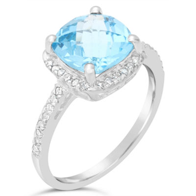 Womens 1/6 CT. T.W. Genuine Blue Topaz Sterling Silver Halo Cocktail Ring