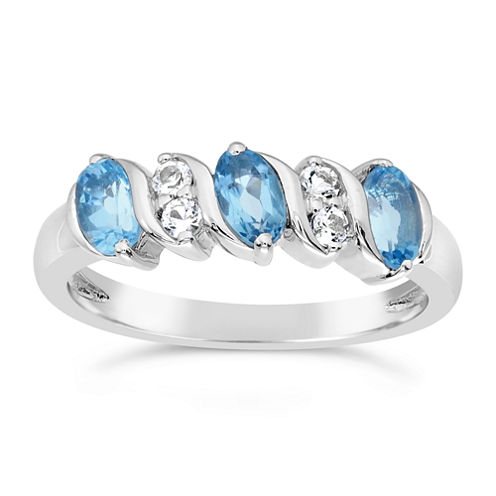 Womens Genuine Blue Topaz Sterling Silver Side Stone Ring