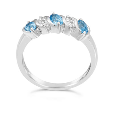 Womens Genuine Blue Blue Topaz Sterling Silver Side Stone Ring