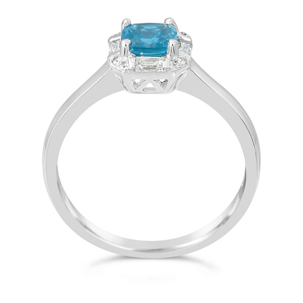 Womens Genuine Blue Blue Topaz Sterling Silver Solitaire Ring