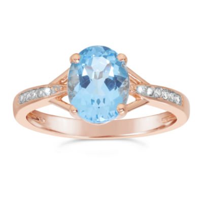 Womens Diamond Accent Genuine Blue Blue Topaz Gold Over Silver Cocktail Ring