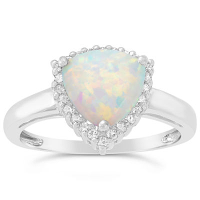 Womens Lab Created White Opal Sterling Silver Halo Ring