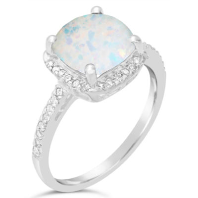 Womens 1/6 CT. T.W. Lab Created White Opal Sterling Silver Halo Ring