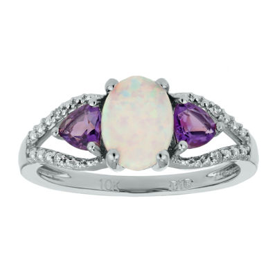 Womens Diamond Accent Lab Created White Opal Sterling Silver 3-Stone Cocktail Ring
