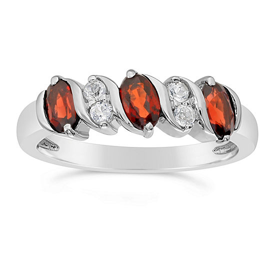Womens Genuine Red Garnet Sterling Silver Side Stone Cocktail Ring
