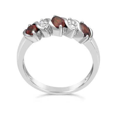 Womens Red Garnet Sterling Silver Side Stone Ring