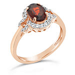 Womens Genuine Red Garnet 14K Rose Gold Over Silver Halo Cocktail Ring