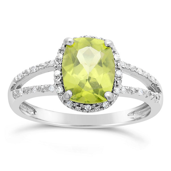 Womens 1/10 CT. T.W. Green Peridot Sterling Silver Solitaire Ring