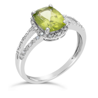 Womens 1/10 CT. T.W. Genuine Green Peridot Sterling Silver Solitaire Ring