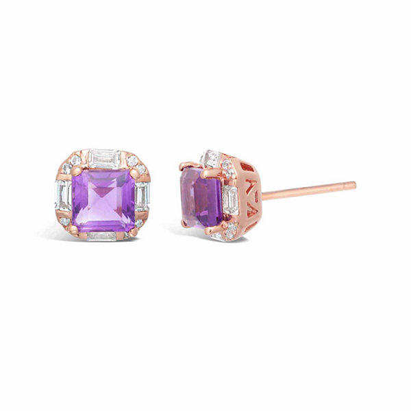 Princess Purple Amethyst Sterling Silver Gold Over Silver Stud Earrings