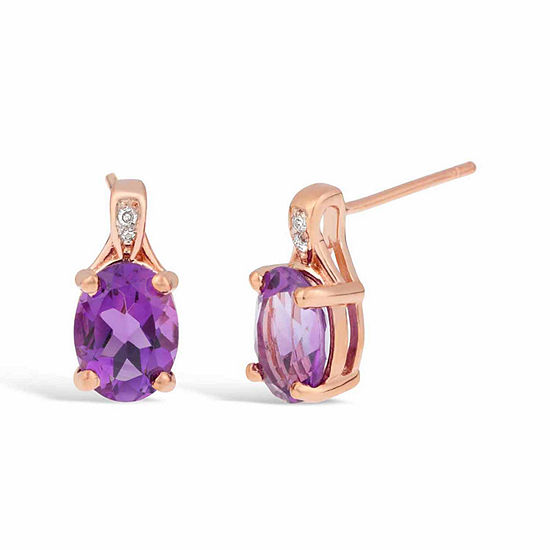 Diamond Accent Genuine Purple Amethyst 14K Gold Over Silver Drop Earrings