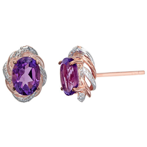 Diamond Accent Oval Purple Amethyst Sterling Silver Gold Over Silver Stud Earrings