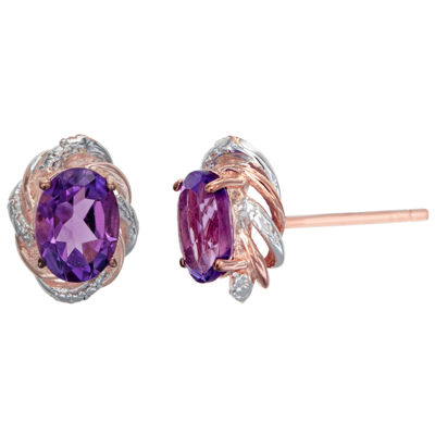Diamond Accent Genuine Purple Amethyst 14K Gold Over Silver 11mm Stud Earrings