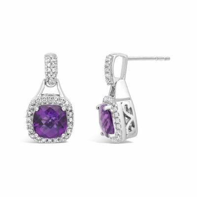 Diamond Accent Purple Amethyst 10K Gold Drop Earrings