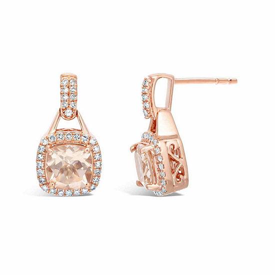 1/3 CT. T.W. Genuine Champagne Morganite 10K Gold Drop Earrings