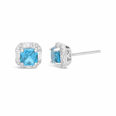 Princess Blue Topaz Sterling Silver Stud Earrings