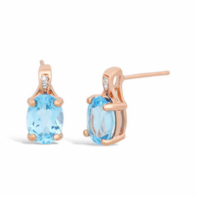 Diamond Accent Genuines Blue Topaz 14K Rose Gold Over Silver Drop Earrings
