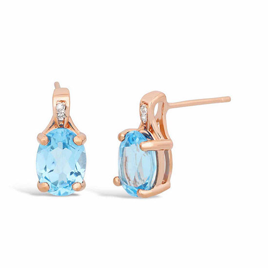 Diamond Accent Genuine Blue Topaz 14K Rose Gold Over Silver Drop Earrings