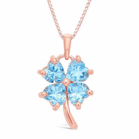 Womens Genuine Blue Topaz 14K Gold Over Silver 14K Rose Gold Over Silver Flower Pendant Necklace