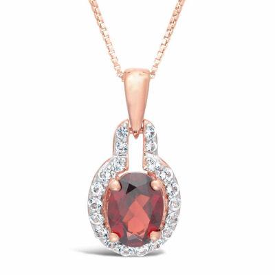Womens Genuine Red Garnet 14K Rose Gold Over Silver Pendant Necklace