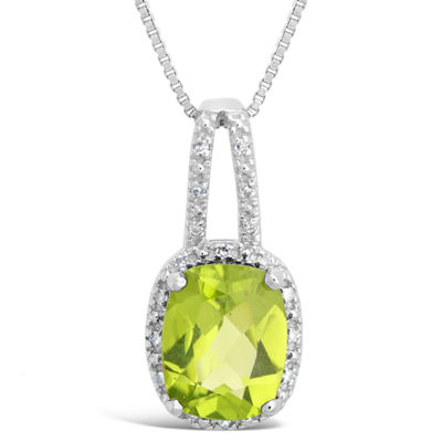 Womens Diamond Accent Genuine Green Peridot Sterling Silver Pendant Necklace