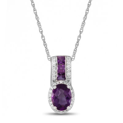 Genuine Amethyst & Lab-Created White Sapphire Sterling Silver Pendant Necklace
