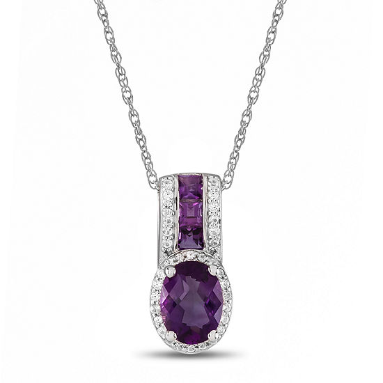 Genuine Amethyst Lab Created White Sapphire Sterling Silver Pendant Necklace