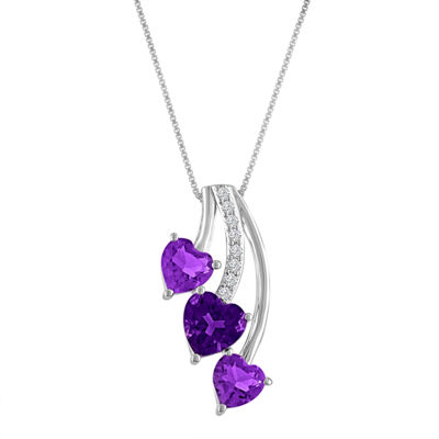 Genuine Amethyst & White Sapphire Sterling Silver Triple Heart Pendant Necklace
