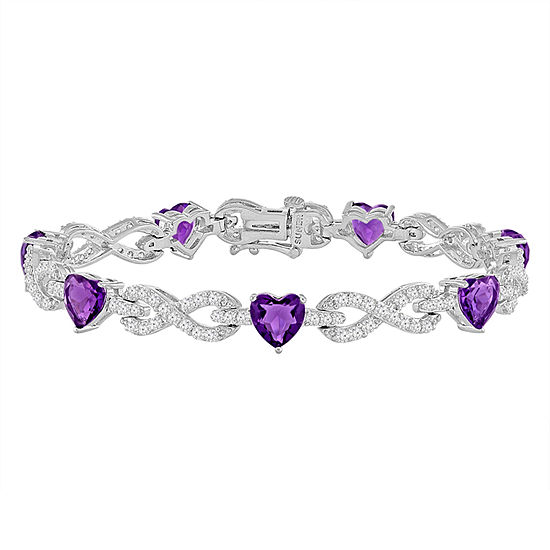 Lab-Created Amethyst & Cubic Zirconia Silver over Brass Infinity Heart Link Bracelet