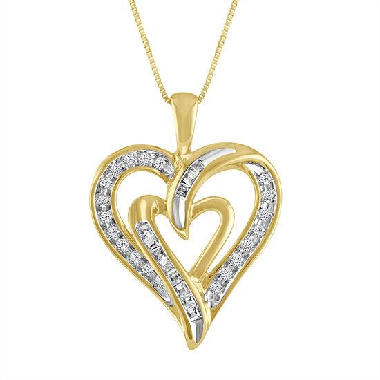 Womens 1/5 CT. T.W. Genuine White Diamond 10K Gold Heart Pendant Necklace
