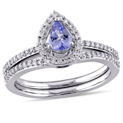 Womens 7/8 CT. T.W. Purple Tanzanite 10K Gold Bridal Set