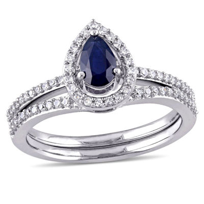 Modern Bride Gemstone Womens 7/8 CT. T.W. Blue Sapphire 10K Gold Bridal Set