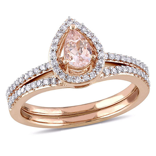 Modern Bride Gemstone Womens 3/4 CT. T.W. Genuine Pink Morganite 10K Gold Bridal Set