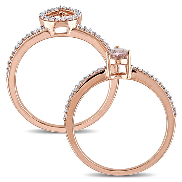Womens 3/4 CT. T.W. Pink Morganite 10K Gold Bridal Set