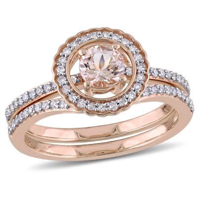 Womens 7/8 CT. T.W. Pink Morganite 10K Gold Bridal Set