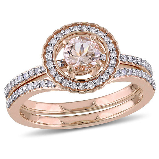 Modern Bride Gemstone Womens 7 8 Ct Tw Genuine Pink Morganite 10k Gold Bridal Set