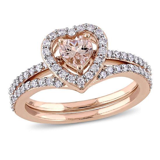 Modern Bride Gemstone Womens 1 CT. T.W. Genuine Pink Morganite 10K Gold Bridal Set