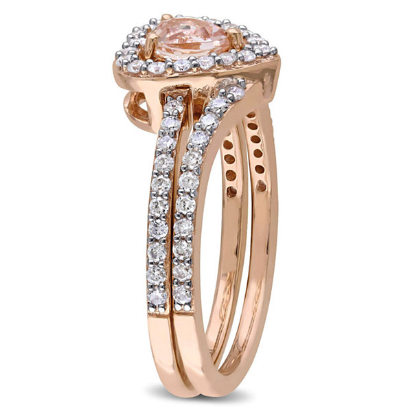 Womens 1 CT. T.W. Pink Morganite 10K Gold Bridal Set