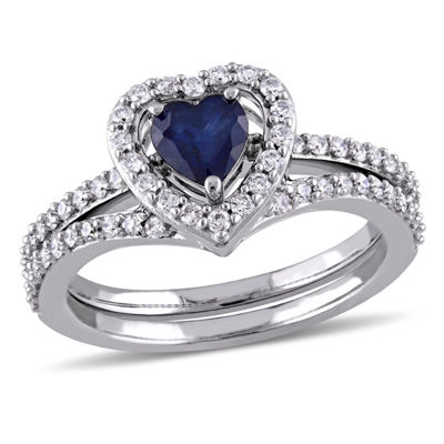 Modern Bride Gemstone Womens 1 CT. T.W. Blue Sapphire 10K Gold Bridal Set