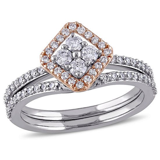 Womens 5 8 Ct Tw Genuine White Diamond 14k Gold Bridal Set