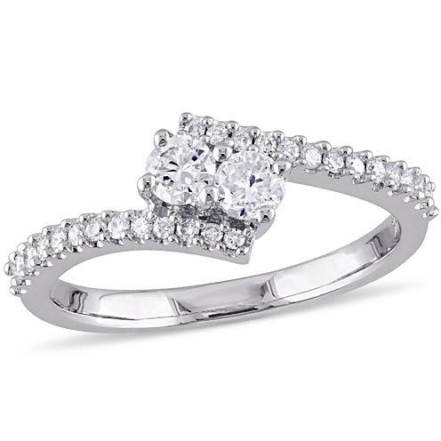 Womens 1/2 CT. T.W. Round Diamond 14K Gold Engagement Ring