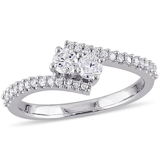 Womens 1/2 CT. T.W. Genuine Diamond 14K Gold Engagement Ring