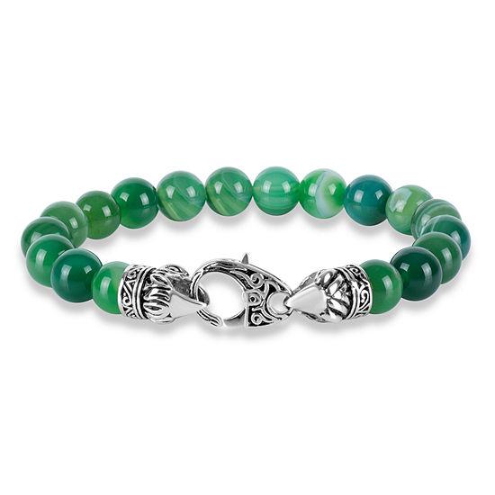 Genuine Green Agate Stainless Steel Beaded Bracelet
