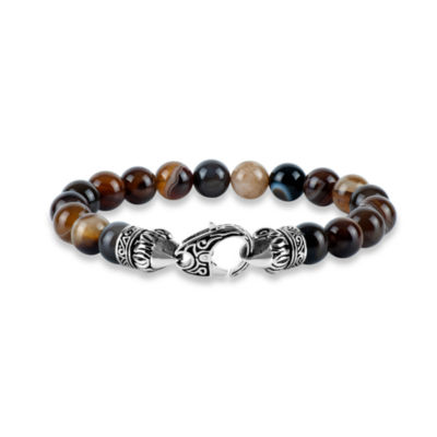 Mens Brown Agate Stainless Steel Beaded Bracelet